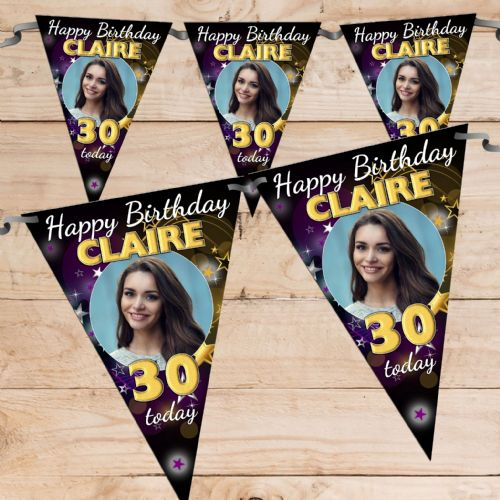 Personalised Stars Happy Birthday Flag PHOTO Bunting Banner - N73 ANY AGE